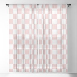 Gingham Pink Blush Rose Quartz Checked Pattern Sheer Curtain