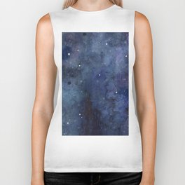 Galaxy Nebula Watercolor Night Sky Stars Outer Space Blue Texture Biker Tank