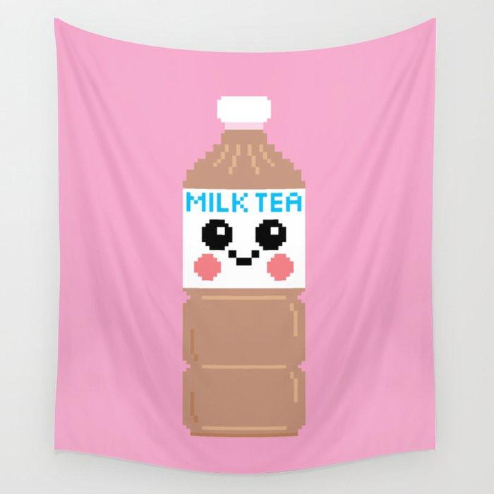 Happy Pixel Milk Tea Wall Tapestry