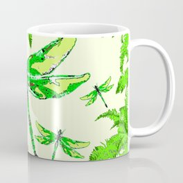 TROPICAL FERNS & EMERALD GREEN  SWAMP DRAGONFLIES Coffee Mug
