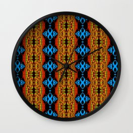 Green, Blue and Gold Infinity Fractal Wall Clock