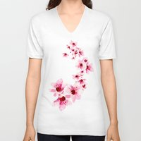 cherry blossom V-neck T-shirts featuring Cherry Blossom  by Folksfield