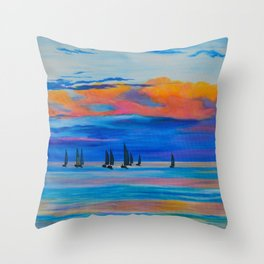 I'd Rather Be Sailing by Teresa Thompson Throw Pillow