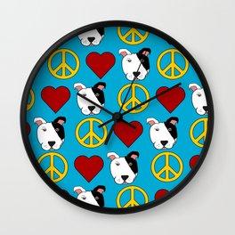 Peace, Love, Pit Bulls Wall Clock