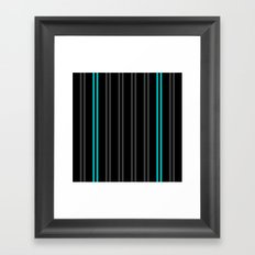 Charcoal Gray/Teal/Black Vertical Stripes Framed Art Print
