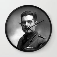 hemingway Wall Clocks featuring Ernest Hemingway in Uniform, 1918 by Limitless Design