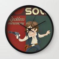 han solo Wall Clocks featuring Han Solo by Alex Santaló