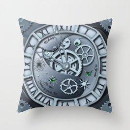 Steampunk clock silver Throw Pillow