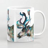 reindeer Mugs featuring Reindeer  by Slaveika Aladjova