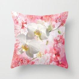 Weiße Orchideen Throw Pillow