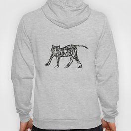 Tiger white and black illustration Hoody