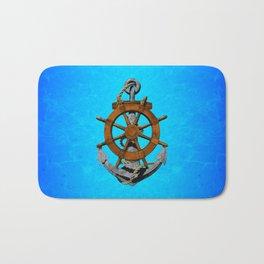 Nautical Ships Wheel And Anchor Bath Mat
