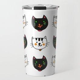smiling cats black and white minimal design Travel Mug