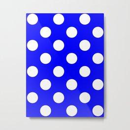 Large Polka Dots - White on Blue Metal Print