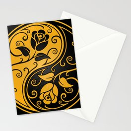 Yellow and Black Yin Yang Roses Stationery Cards