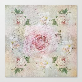 Romantic vintage roses and French handwriting Canvas Print
