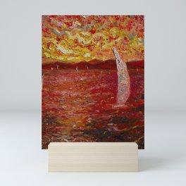 Garda Lake in Pink Mini Art Print