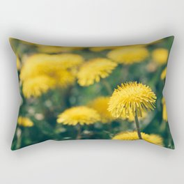 Top view of bloom dandelions. Rectangular Pillow