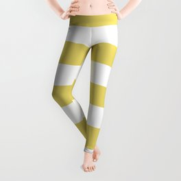 Hansa yellow - solid color - white stripes pattern Leggings