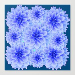BLUE-WHITE DAHLIA FLOWERS IN  TEAL COLOR Canvas Print