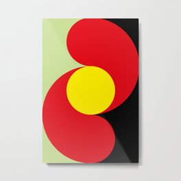 This is a sun splitting the sky in two sides, one black, one green. Spitting deep red round rays. Metal Print
