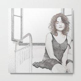 closed eyes - woman dotwork portrait Metal Print