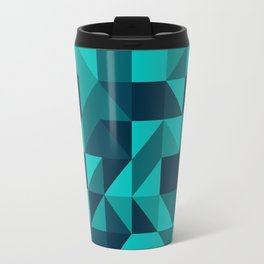 The bottom of the ocean - Random triangle pattern in shades of blue and turquoise  Travel Mug