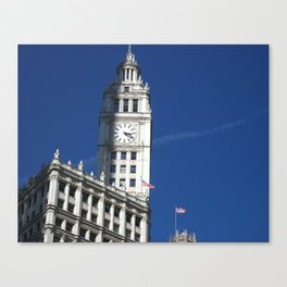 Chicago Clock Tower, American Flags Canvas Print