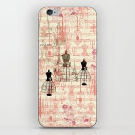 Vintage coral pink mannequin music note collage design iPhone Skin
