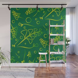 Botanical lemon pattern from plants and grass blades on a mint background. Wall Mural