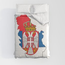 Serbia Map with Serbian Flag Comforters