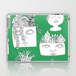 Illustrated Plant Faces in Kelly Green Laptop & iPad Skin