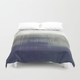 Navy Blue and Grey Minimalist Abstract Landscape Duvet Cover