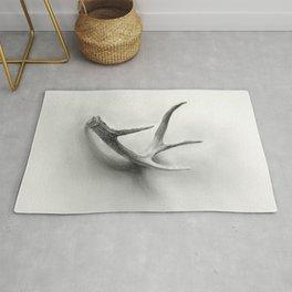 Lost and Found - Deer Antler Pencil Drawing Rug