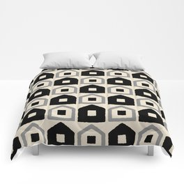 Mid Century Modern House Dot Pattern 971 Black and Gray Comforters