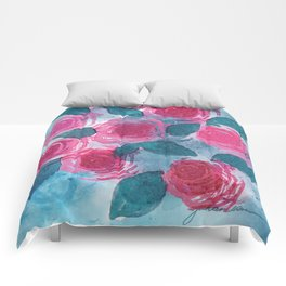 Pink Roses Comforters