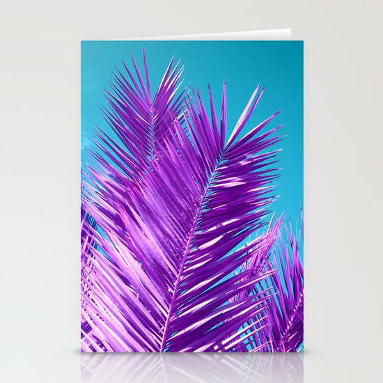 purple palm tree Stationery Cards
