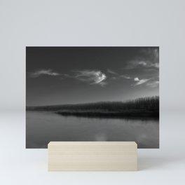 Winter Lake in Black and White Mini Art Print