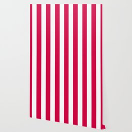 Rich carmine fuchsia - solid color - white vertical lines pattern Wallpaper