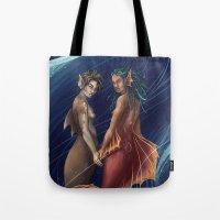 mermaids Tote Bags featuring Mermaids by laya rose