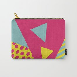 Pink Turquoise Geometric Pattern in Pop Art, Retro, 80s Style Carry-All Pouch