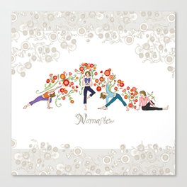 Yoga Girls_Namaste_Poses and Flowers Large scale Canvas Print