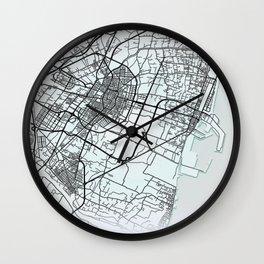 Castellón de la Plana, Spain, White, City, Map Wall Clock