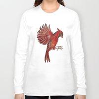 cardinal Long Sleeve T-shirts featuring Cardinal by Jody Edwards Art