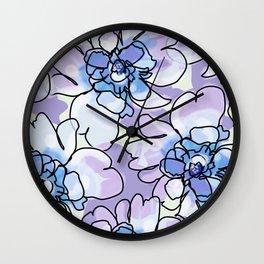 Blue Blush Peonies Wall Clock