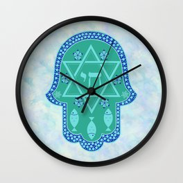 Hamsa for blessings, protection and strength - watercolor turquoise Wall Clock