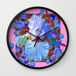 PASTEL IRIS & BLUE MORNING GLORIES PINK PATTERNS Wall Clock