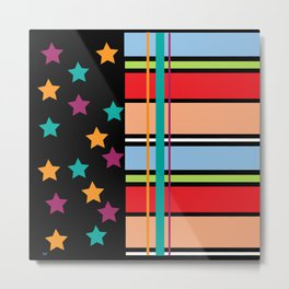 Star Stripe Pattern Metal Print