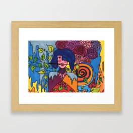 The lady and the knife Framed Art Print