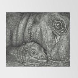 Baby Pygmy Hippo with Mother - Vulpecula Throw Blanket